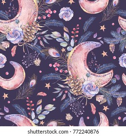 Watercolor vintage seamless pattern with moon, roses, cones, spruce branches, wildflowers and  berries on black background, Winter Christmas decoration, Holiday illustration