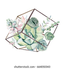 Watercolor vintage succulents bouquet. Spring or summer decoration floral bohemian design. Watercolor isolated. Perfect for invitation, wedding or greeting cards.