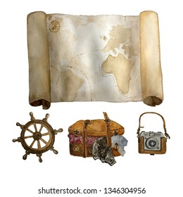 Watercolor vintage travel set of old map, sea steering wheel , leather suitecase and photo camera hand drawn isolated on white. For cards, invitations and afishas.