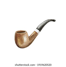 Watercolor vintage wooden brown smoking pipe for tobacco isolated on white background. Watercolor hand drawn illustration sketch