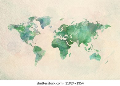 Watercolor vintage world map in green colors on paper texture. Colorful artistic image of Earth's lands.