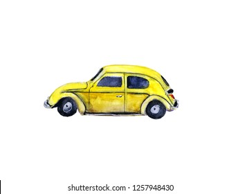 watercolor vintage yellow retro car, isolated on white background
