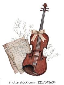 Watercolor violin illustration. Classic musical instruments
