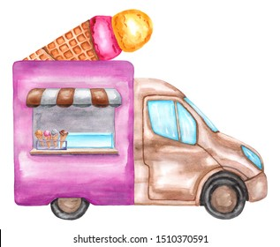 Watercolor waffle cone ice cream cart, truck, car. Illustration isolated on white background