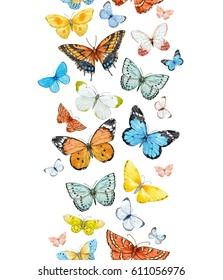 Watercolor Wallpaper with flying butterflies. vertical pattern