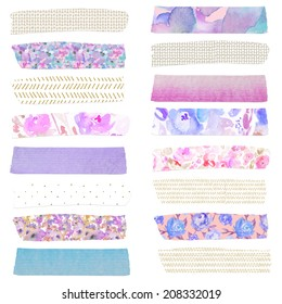 Watercolor Washi Tape Strips Clip Art With Flower Designs