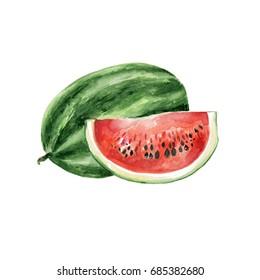 Watercolor Watermelon. Hand Drawn Illustration Organic Food Vegetarian Ingredient