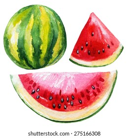 Watercolor watermelon set isolated on white background