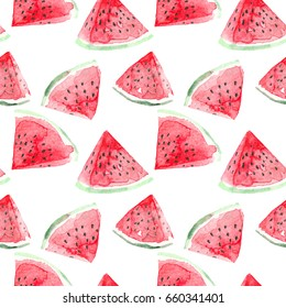 Watercolor watermelon slices seamless pattern