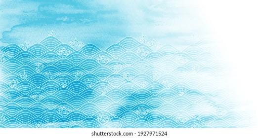 Watercolor wave blue sea background