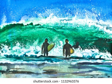 Watercolor wave and surfers. Swimming in the sea and surfing.