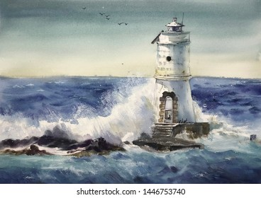 Watercolor wave water wave painting, watercolor lighthouse, watercolor wave,  pattern sketching, spray, watercolor hand-painted patterns