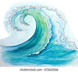 Watercolor waves seascapes illustration.