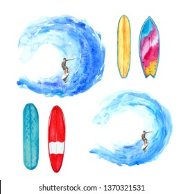 Watercolor waves, surfer and surfboards