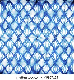 Watercolor weave indigo batik ornamental pattern. Seamless watercolor oriental pattern.