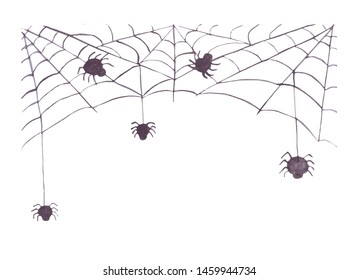 watercolor web with spider. isolated on white background. Halloween symbol
