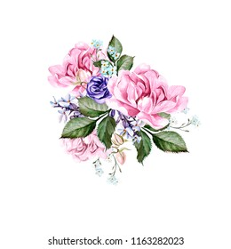 Watercolor wedding bouquet with peony flowers and anemon. Illustration