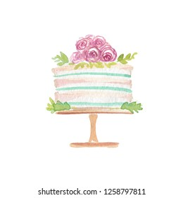 Watercolor Wedding Cake with Cream Pink Roses and Green Leaves. Perfect Illustration for Wedding or Greeting Cards