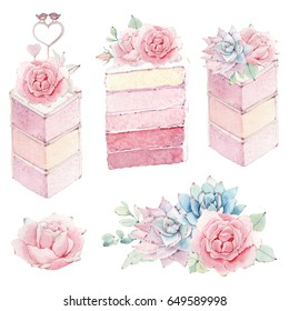 watercolor wedding cake illustration. Perfect for invitation, wedding or greeting cards.