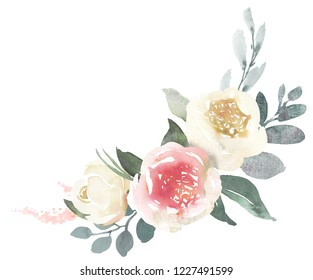 Watercolor wedding floral bouquet composition with white roses and eucalyptus