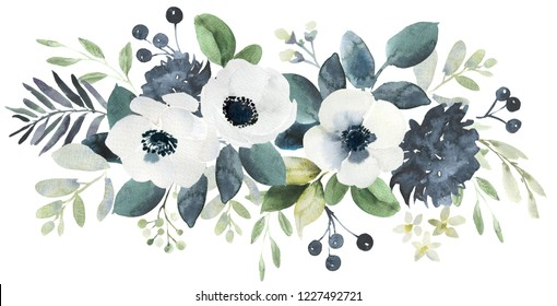 Watercolor wedding floral bouquet composition with black and white helebore and eucalyptus