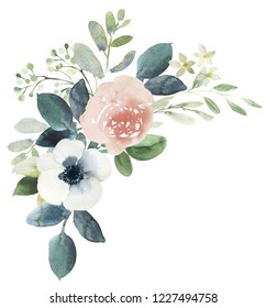 Watercolor wedding floral bouquet composition with blush roses and eucalyptus