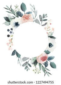 Watercolor wedding floral frame composition with blush roses and eucalyptus