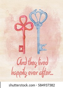 Watercolor wedding or house warming greeting card with hand drawn keys