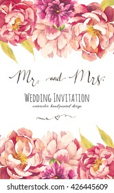 Watercolor wedding invitation design with peonies and leaves. Hand painted floral background with floral elements, flowers, calligraphic Mr. and Mrs. symbols, graphic design element.