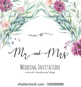 Watercolor wedding invitation with modern calligraphy words. Hand painted floral background with leaves, flowers and berries, calligraphic Mr. and Mrs. symbols, graphic design element.