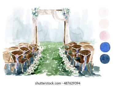 Watercolor wedding sketch. Elegance wedding arch