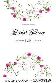 Watercolor wedding template with tiny pink peonies compositions and wreath. Ideal for wedding romantic invitations