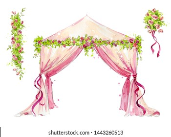 watercolor wedding tent with roses decoration, romantic setting for event