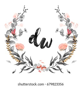 Watercolor Wedding Wreath Monogram Floral Decoration in Blush and Black on Isolated White Background. Save the Date, Invitation, Thank You Card, Postcard, Summer, Spring Theme. Raster Illustration.