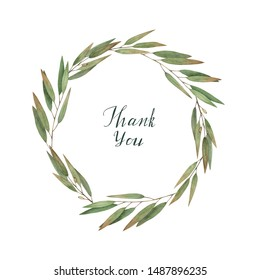 Watercolor wedding wreath with olive,  eucalyptus branch. Botanical hand drawn illustration. Rustic design