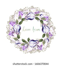 Watercolor wedding wreath with tulips and crocus flowers. Illustration