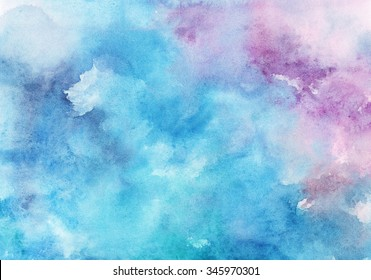 Watercolor Wet Background. Blue .Watercolor abstract background. Hand painted watercolor background. Watercolor wash. Abstract painting. Watercolor wash.