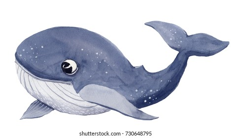 Watercolor whale cartoon illustration