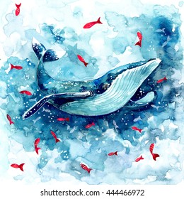 Watercolor whale. Hand-drawn illustration