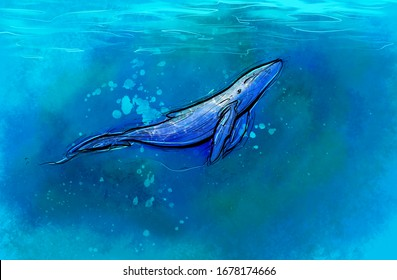 Watercolor whale on a blue background