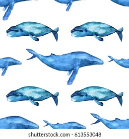 Watercolor whales seamless pattern.  Humpback whale and Bow head whale on white background.