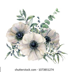 Watercolor white anemone bouquet. Hand painted flower, eucalyptus leaves and juniper isolated on white background. Illustration for design, fabric, print or background