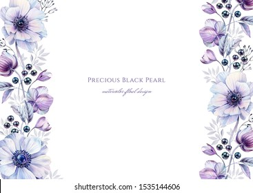 Watercolor white anemones with black pearls. Purple side borders isolated on white. Hand-painted realistic botanical floral illustration for wedding stationery design, card printing, banners
