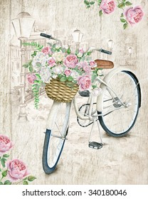 Watercolor White Bicycle With Beautiful Flower Basket on vintage background