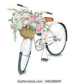 Watercolor White Bicycle With Beautiful Flower Basket isolated on white background