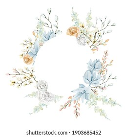 Watercolor white and blue floral frame with golden rose, pampas grass, wild flower. Botanical illustration for greeting card, wedding card, baby shower, bridal shower.