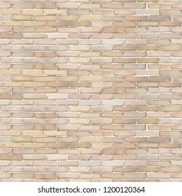 Watercolor white brick wall. Hand painted architectural seamless pattern