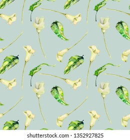 Watercolor white callas flowers and green tropical leaves seamless pattern, hand painted on a blue background