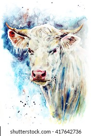 Watercolor white cow on the colorful texture background with drops