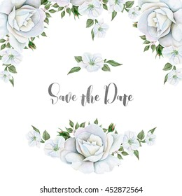 Watercolor white flowers bouquets and border. Great start for wedding cards